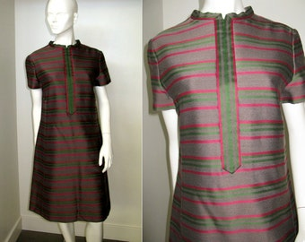 Vintage 1960s Mollie Parnis Mod Striped Dress
