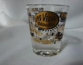 Great Vintage Las Vegas Shot Glass Black and Gold ~60-70's