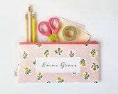 Pink Floral Zipper Pouch, Pencil Pouch, Pencil Case, Pink, Green, Floral, College, Kids, School Supplies, Teens, Women, Organize