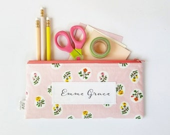 Pink Floral Zipper Pouch, Pencil Pouch, Pencil Case, Pink, Green, Floral, College, Kids, School Supplies, Teens, Women, Organize