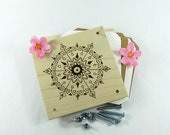 Flower Press - Wood Pyrography - Mandala Plant Press