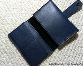 """100% hand stitched handmade deep midnight blue cowhide leather case for 3.5"""" X 3.5"""" notebook, journal, credit cards, cash, etc."""