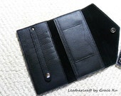 100% hand stitched handmade black cowhide leather long wallet