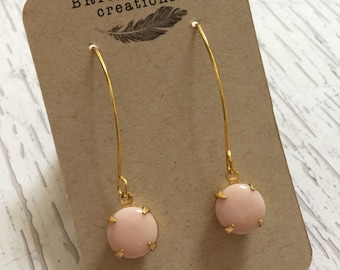 Gold and pale pink dangle earrings