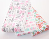 NEW - Baby Girl Burp Cloths - Set of 3 - Mini Owls, Elephants, and Monkeys - Pink and Gray