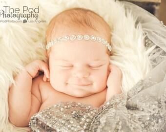 Baby headband silver rhinestone sparkle halo  crystal bead ready to ship today