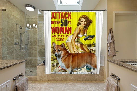 Welsh Corgi Pembroke Art Shower Curtain, Dog Shower Curtains, Bathroom Decor - Attack of the 50 Foot Woman Movie Poster by Nobility Dogs