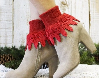 SIGNATURE LACE in Red lace socks women socks lacey socks short boot socks ladies hosiery lace cuff boot socks  Catherine Cole Studio SLC2