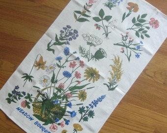 "Vintage Tea Towel ""Meadow Bouquets"" Wildflowers Floral Tea Towel Linen Tea Towel"