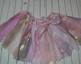 SALE Pink and Gold Fabric Tutu Rag Tutu Skirt, Lace, Sequins and Glitter Shabby Chic, 1st BIRTHDAY, Photo Prop, Cake Smash, Party Tutu