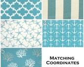 Modern Valances- Premier Prints Coastal Blue Valance- 50x16 inches- You Choose Fabric- Contemporary Window Shade- Draperies- Aqua Panel