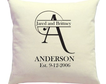 Personalized Pillow- Wedding Decor- Engagement Gift Pillow Cover- 16x16 Zippered Cushion Cover- Choose Colors- Anniversary Present