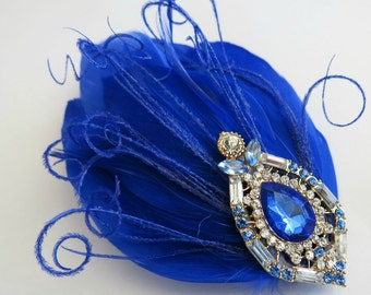 Bride Bridesmaid Feather Hair Accessory, Feather Fascinator, Hair PIece,Cobalt Blue, Royal Blue,Rhinestone Feather, Hair Clip