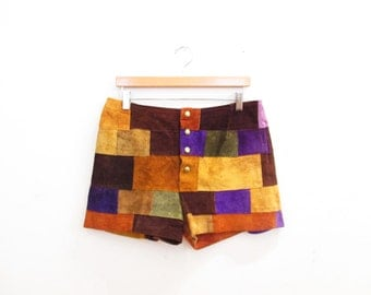 Vintage 1970s Shorts | Patchwork 1970s Leather Shorts | size small - medium | 7SHT01