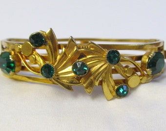 Green Rhinestone Vintage Bangle Bracelet, Gold Tone 1950's