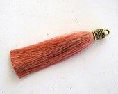 Cinnamon Silky Tassel Pendant -90mm- Assorted Tassel Cap Finishes - Handmade Jewelry Supply - 1 Piece (SK611)