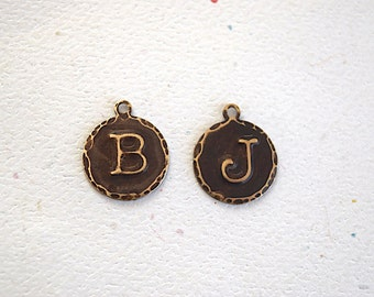 Embossed Initial Letter Uppercase Typewriter 13mm Circle Charm Antiqued Brass Metal Tag - 2 Pieces