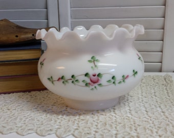 Hand Painted Glass Lamp Shade Rose Buds Pinks Green