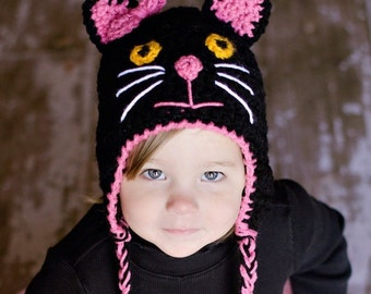 Crochet kitty hat, cat hat, kitty cat hat in black with pink trim and bow. Newborn through adult sizes available. Made to order
