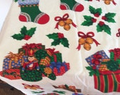 Fabric Panel - Christmas Appliqués  - Christmas Tree Presents - Jingle Bells Sled Stockings - Toy Soldiers Holly - Green Red Gold Blue