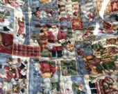 Santa Claus Snowman Quilted Christmas Fabric - 1 Yard 5 Ins Plus Red Blue Gold - 60 Wide - Throw Quilt Yardage - Children's Fabric - Pillows