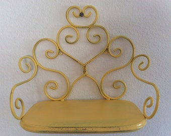 Wall Shelf - Yellow Metal - Shabby Cottage Chic - Baby Nursey - Child's Room - Teens - Ornate - French Country - Kitchen Shelf - Distressed