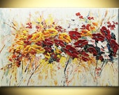 Poppies Abstract Impasto heavy texture ORIGINAL Modern Flowers Painting 24x36 Fine Art Palette knife oil home office Hand Painted by IraSher
