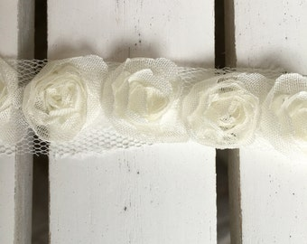 Maya Road Organza Rose Ribbon in cream, 1/2 in. width, sold by the yard, for scrapbooking, card making, sewing, fabric arts, mixed media