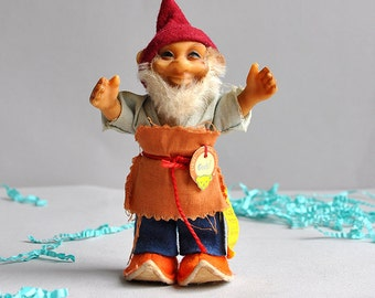 """SALE 30% OFF! Vintage Steiff """"Pucki"""" Gnome with RARE Bright Orange Shoes - Germany"""