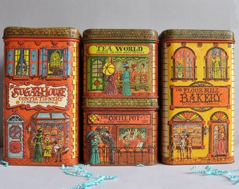 "Vintage ""Village"" Tins - Set of 4 - Chein Industries"