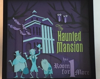 Haunted Mansion 12X12 Hand Cut Paper Shadowbox FRAMED Disney Handmade Ghosts