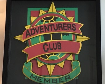 Adventures Club Member 12X12 Hand Cut Paper Shadowbox FRAMED Disney Handmade