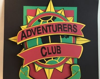 Adventures Club Member 12X12 Hand Cut Paper Shadowbox FRAMED Disney Handmade