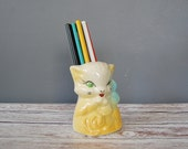 Vintage Kitty Cat Planter or Vase, Ceramic 1950's Cat, Yellow Kitty with Blue Bow