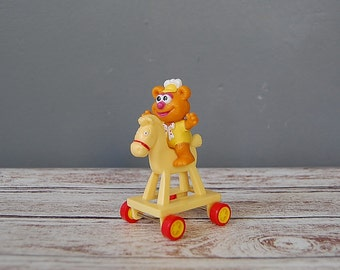 Muppet Babies Toy, Fozzie On Yellow Horse, McDonald's Happy Meal Toy, Vintage 80's Collectibles, The Muppets
