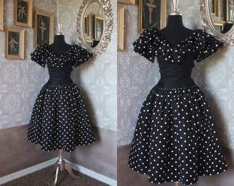Vintage 1980's  Black and White Polka Dot Ruffle Accent Dress Small XS