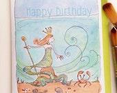SALE, Happy Birthday Mermaid, 5 x 7 note card, Children's Illustration