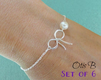 Bridal jewelry gift set of Six :Silver Bow Bracelets, pearl bracelets, Tie the Knot jewelry, bracelets for bridesmaids, bow charm jewelry
