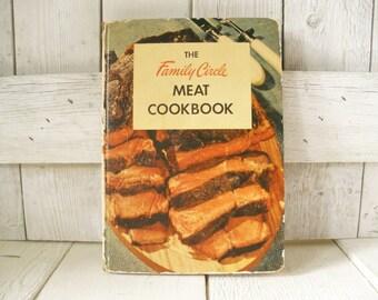 Vintage recipe book Family Circle Meat Cookbook retro Atomic Age illustrations 1954