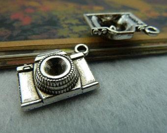 10pcs 8x15x20mm The Camera Silver White  Retro Pendant Charm For necklace Jewelry /Pendants B423