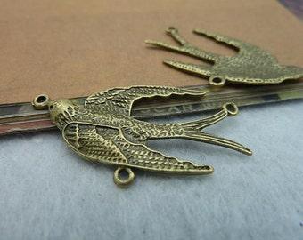 10pcs 20x37mm The Bird Antique Bronze Retro Pendant Charm For Jewelry Bracelet Necklace Charms Pendants C2198