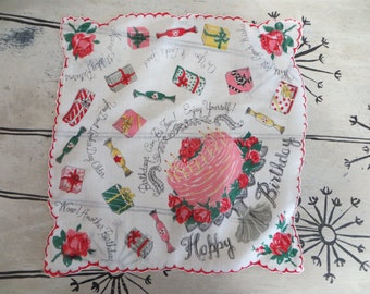 Birthday Handkerchief Vintage Handkerchief Birthday Gift Birthday Cake Happy Birthday Vintage Hankie Hanky
