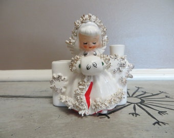 Holt Howard 1960 Spaghetti Trim Angel Planter with Candle Holder Christmas Angel Vintage Holiday Decor Christmas Decor