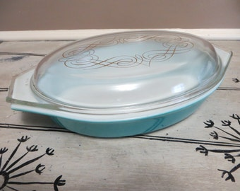 Pyrex Dish Pyrex Oven Ware Promotional Pyrex Blue with Gold Swirled Lid Covered Casserole Turquoise Oval Pyrex Baking Dish Covered Pyrex