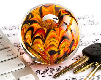 Hand Crafted Glass Paperweight - Hot Fall Color Squiggle Arches