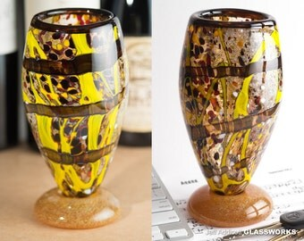 Wildly Individual Abstract Earthy Glass Goblet - Brown Stripes with Yellow Brush Strokes