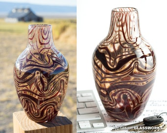 Hand Blown Art Glass Vase - Gold Brown with Ruby Squiggles
