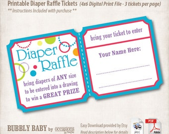 INSTANT DOWNLOAD, Printable Baby Shower Diaper Raffle Tickets, 4x6, Digital File, Bubbly Baby, Multi colored