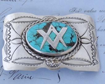 Navajo Freemasons Men's Belt Buckle - Sterling & Turquoise