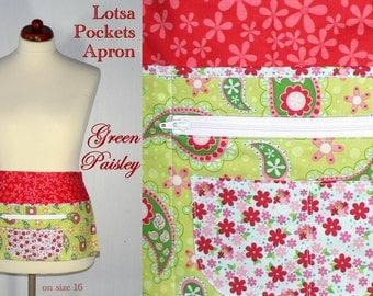 Lotsa Pockets Apron, Vendor Apron with zipper pocket, Teacher- Waitress- New Mommy- Apron - Green Paisley, LAST ONE available, ready to ship